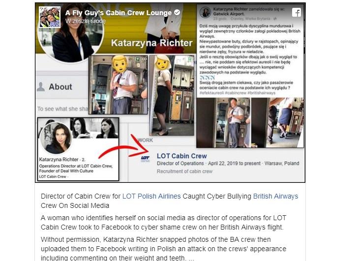 Скриншот страницы на FB Катажыны Рихтер