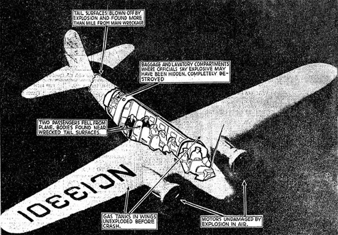 Схема расположения сидений и предполагаемой бомбы в самолете